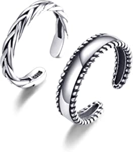 Women 2pcs Silver color V shape Joint knuckle stacking tail punk Toe Rings set