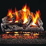 Peterson Real Fyre 18-inch Rugged Oak Gas Log Set With Vented Natural Gas G4 Burner - Match Light
