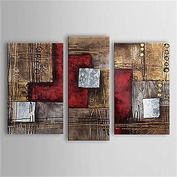 Ölbild Gemälde 3er Set Rot Braun Modern Abstrakt Handgemaltes Leinwandbild  Fertig Auf HangLarge Wandbild Für