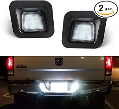 Xprite White LED Smoke Lens License Plate Light Assembly Replacement Tag Lamp for 2003-2018 3rd and 4th Gen Dodge RAM 1500 2500 3500 Trucks