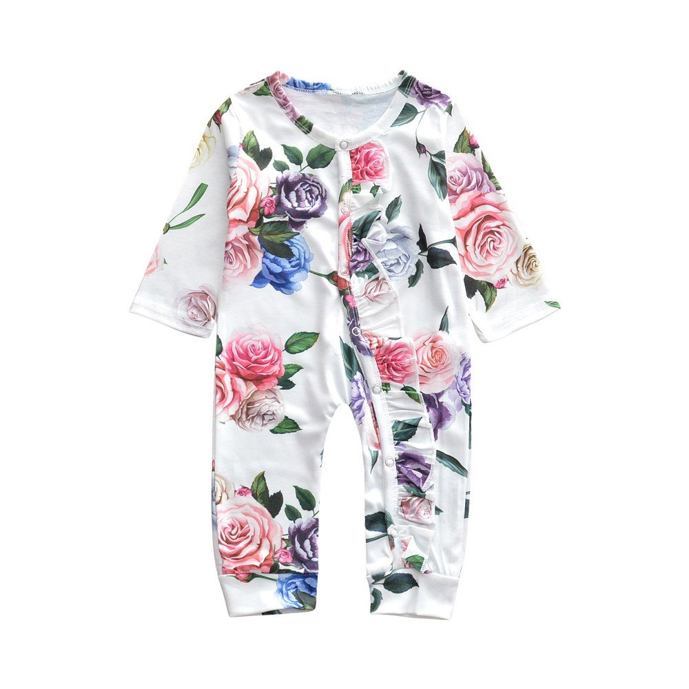 Oldeagle Newborn Baby Girls Floral Print Ruffles Romper Jumpsuit Baby Princess Outfits (18M, White)