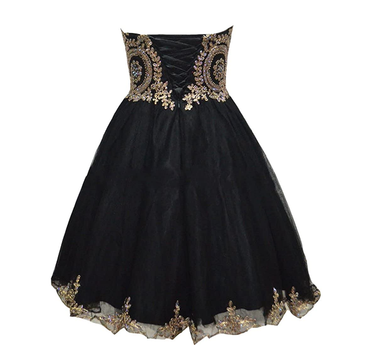 fa88f72c88c Amazon.com  Lemai Tulle Little Black Short Gold Lace Corset Prom Homecoming  Cocktail Dresses  Clothing