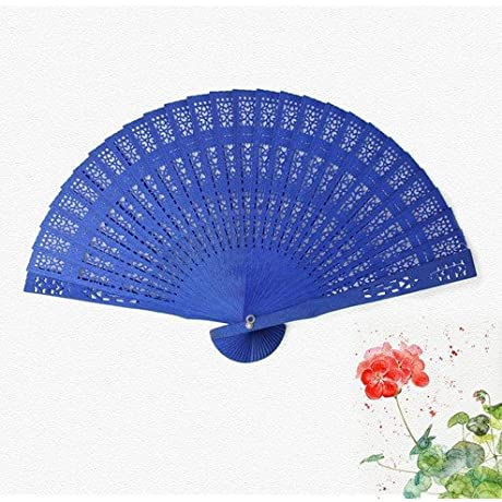 Blue Gift Bag Plain Dyed Wood Hand Fans Kraft Craft Supplies Wedding Favors And Gifts Matrimonio