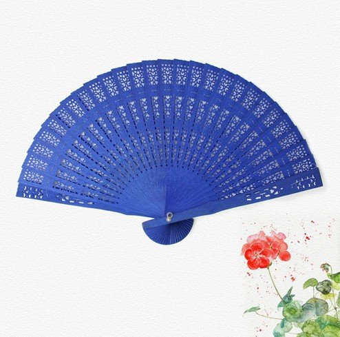 Blue Gift Bag Plain Dyed Wood Hand Fans Kraft Craft Supplies Wedding Favors And Gifts Matrimonio by Hand Fan