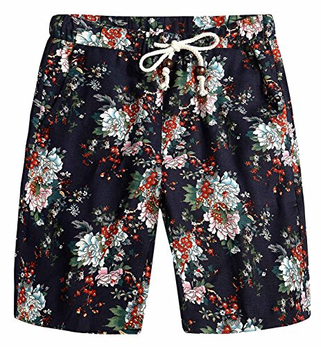 (AIEOE Men Summer Shorts Colorful Floral Print Linen Seamless Adjustable Waistband Vintage Vacation Shorts 36 Flower)