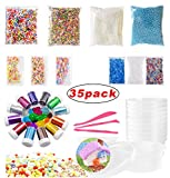 #10: Slime Making Kits Supplies 35 Pack /Fishbowl Beads/Foam Balls/Glitter Shake Jars/Fruit Flower Candy Slices Accessories/Slime Tools/Clear Containers for Slime Making Art DIY Craft