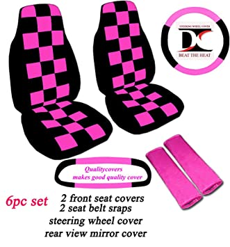 Amazon.com: 6 Piece set. Black and Hot Pink Checkered seat ...