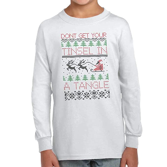 946bd8a3d Brisco Brands My Ugly Christmas Sweater Funny Holiday Youth Long Sleeve T  Shirt White