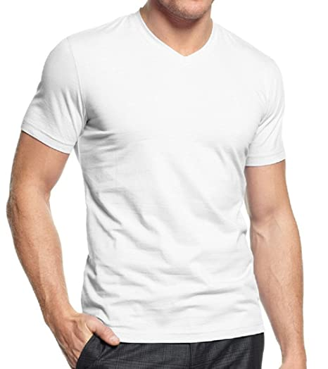 c5e2ea0212c Image Unavailable. Image not available for. Color  Mens Tagless Plain White  Cotton Dress Undershirts V-Neck Vneck Tshirt ...