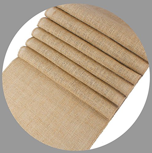 mds Pack Of 12 Wedding 12 x 108 inch Burlap Table Runner Natural jute Country Vintage For Wedding Banquet Decoration – Natural jute (Table Runner Wedding)