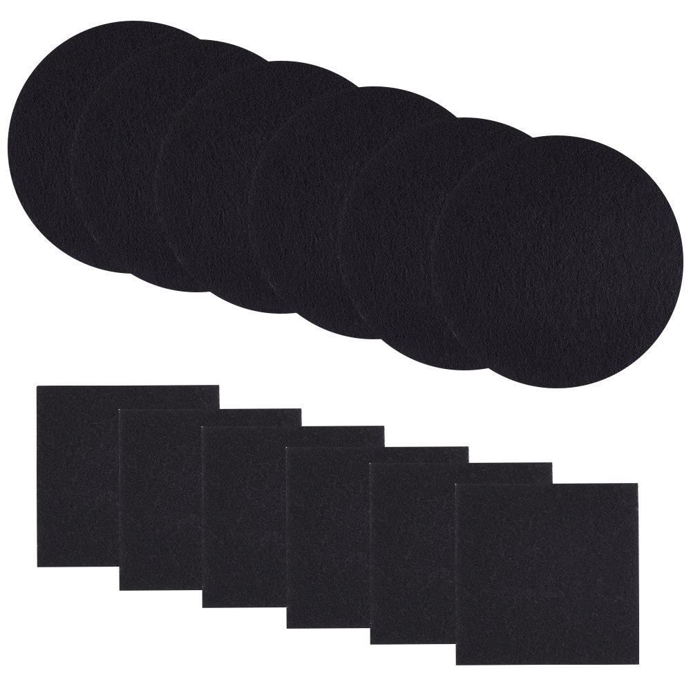Kuuqa 12 Pieces Compost Bin Filter Replacement Charcoal Filters for Kitchen Compost Pail, 6 Round and 6 Square