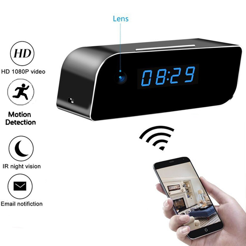 Moosoo Wifi Camera Full HD 1080P Alarm Clock Camera Night Vision Motion Detection Alerts Alarm Clock Wireless IP Security Camera Nanny Cam Real-time Home Surveillance Cameras for Smart Phone PC