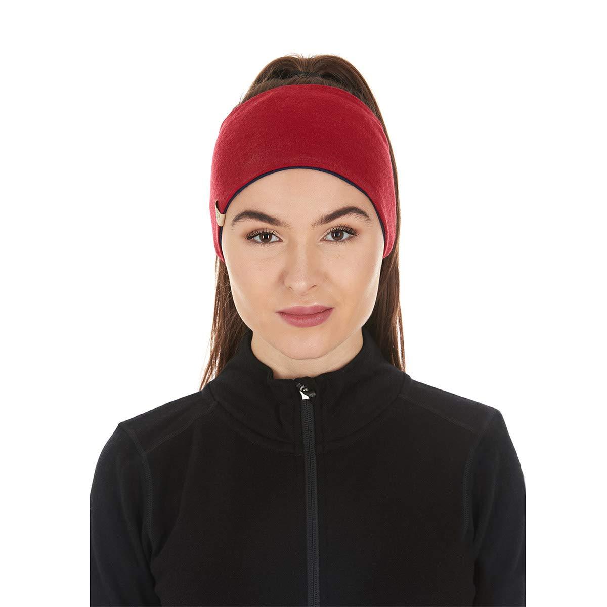 Minus33 Merino Wool Clothing Unisex Midweight Wool Reversible Headband, True Red-Black, One Size