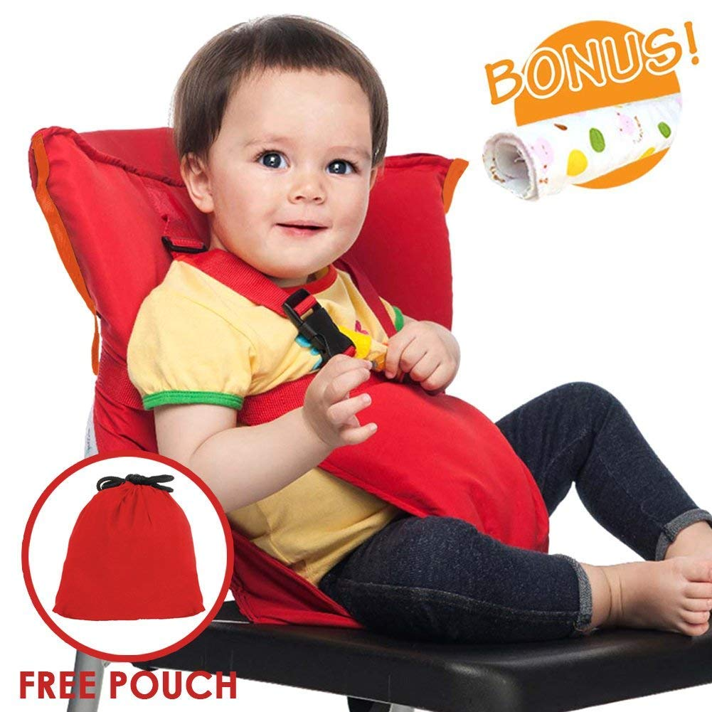 Portable Travel Baby High Chair Feeding Booster Safety Seat Harness Cover Sack Cushion Bag Baby Kid Toddler Universal Size 44 lbs Capacity Soft Cotton Adjustable Straps Shoulder Belt Hand Wash Cloth Baby HighChair Harness HC-BLUE-01