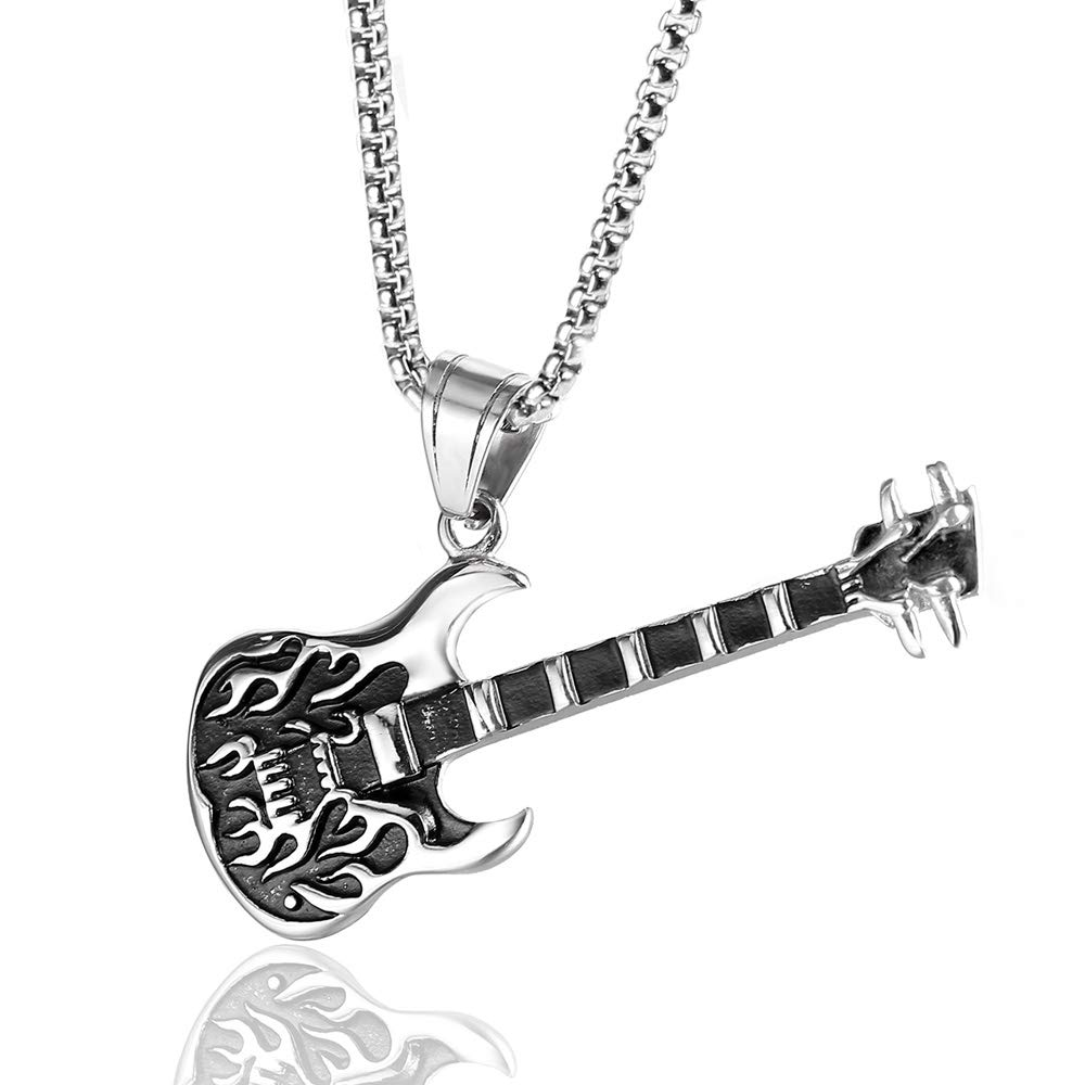mimeng Electric Guitar Music Player Lover Pendant Necklace 24 inches Men Women Jewelry