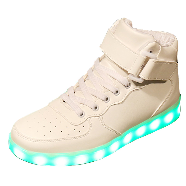 Gaorui New Women LED Light Luminous Sneaker High Top Lovers Athletic Shoes USB Charge B01LA5TM1Q 7.5 B(M) US|White2