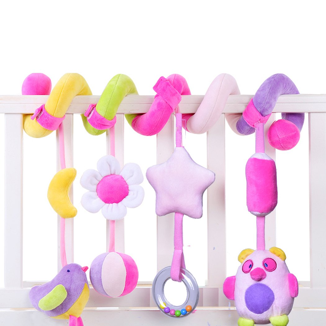 SKK Baby Infant Crib Toy Stroller Activity Spiral and Travel Toy Purple