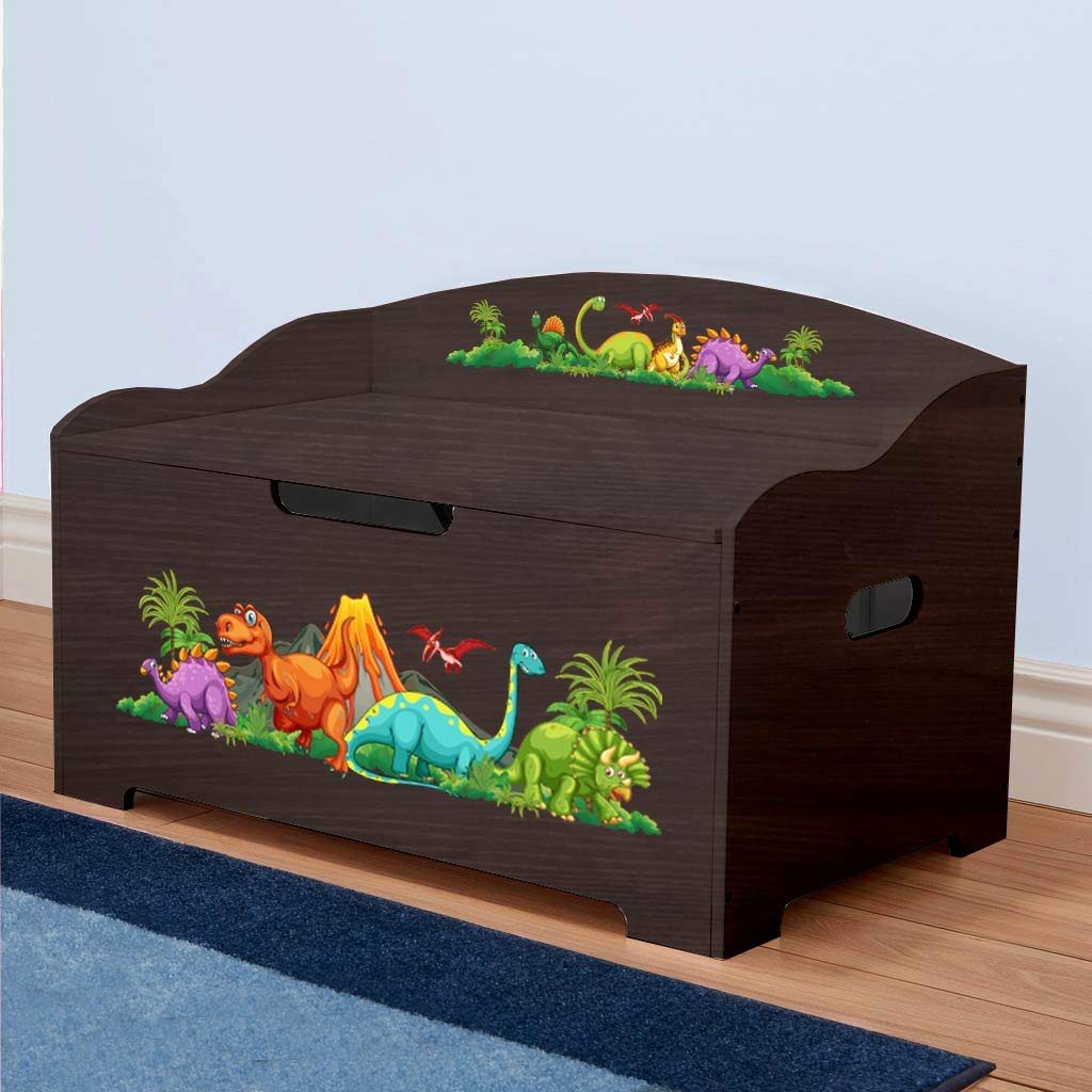 Dibsies Modern Expressions Toy Box - Espresso (Dinosaurs) by DIBSIES Personalization Station