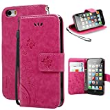 iPhone 5 Case,iPhone 5S Case, Korecase Premiun Wallet Leather Credit Card Holder Butterfly Flower Pattern Flip Stand Case for Apple iPhone 5 5S SE With a Wrist Strap - Rose