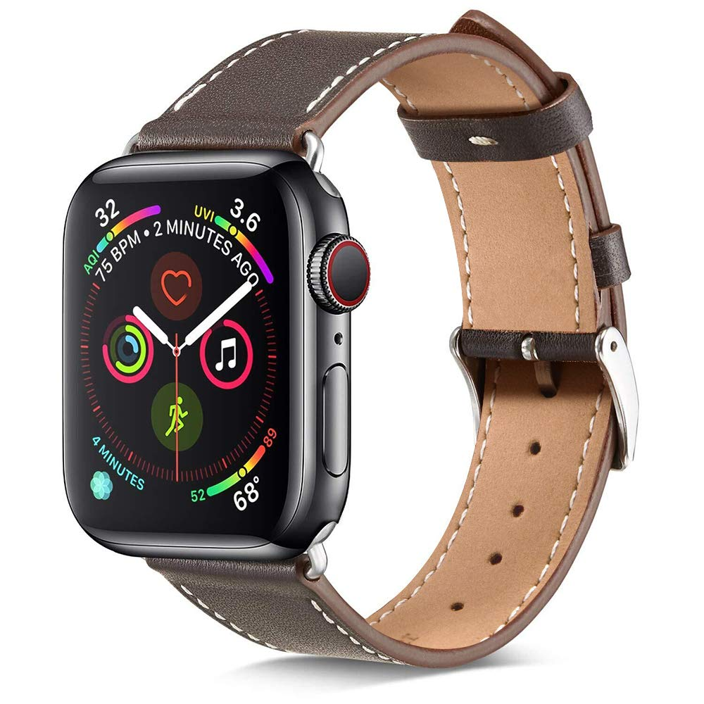 Marge Plus Compatible with Apple Watch Band 42mm 44mm, Genuine Leather Replacement Band Compatible with iWatch Series 5 4 (44mm) Series 3 2 1 (42mm) Sport and Edition, Ebony by MARGE PLUS