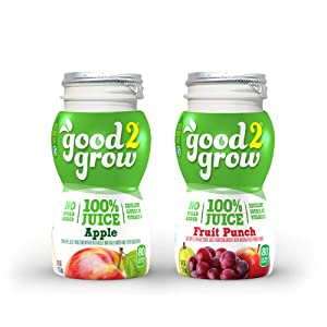 good2grow 100% Apple and Fruit Punch Juice Refill, Variety Pack of 24, 6-Ounce BPA-Free Juice Bottles, Non-GMO w/ No Added Sugar, for use w/ our Spill-Proof Toppers as an Excellent Source of Vitamin C