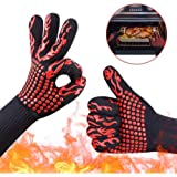 Tuffinno BBQ Grill Gloves Heat Resistant Anti Hot Kitchen Oven Pot Holder Silicone Non-Slip Torch Glove with Fingers for Cooking, Barbecue, Baking, Welding,Fireplace, Cutting and Outdoor Camping 2 Pcs(Red)