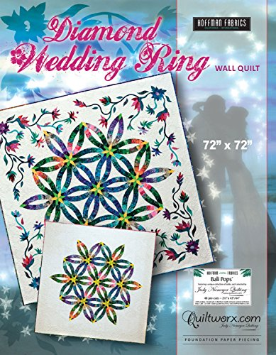 (Diamond Wedding Ring Wall Quilt Foundation Paper Pieced 72in x 72in Quilt Pattern)
