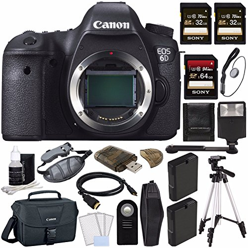 Canon EOS 6D DSLR Camera (Body Only) + Battery + Sony 32GB SDHC Card + Sony 64GB SDXC Card + Canon EOS Shoulder Bag 100ES + Tripod + Flash + Remote + HDMI Cable + Memory Card Wallet + Card Reader by GreensCameraWorld