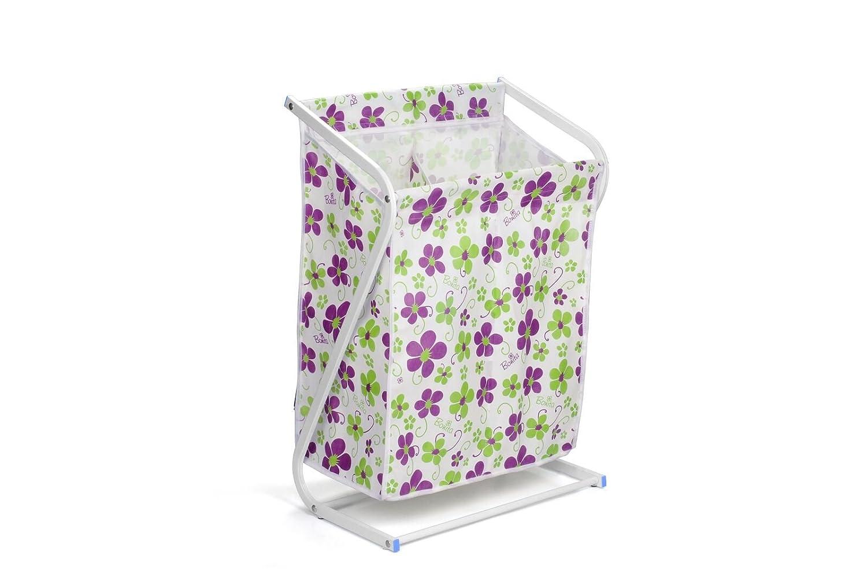 Bonita LB04 40RP Z Forma Dual Sorter Laundry Basket, Powder Coated Steel Non Wooven Fabric with PP Plastic Corner - Rich Plum Bloom, 48 x 30 x 72 cm B01G426UXI