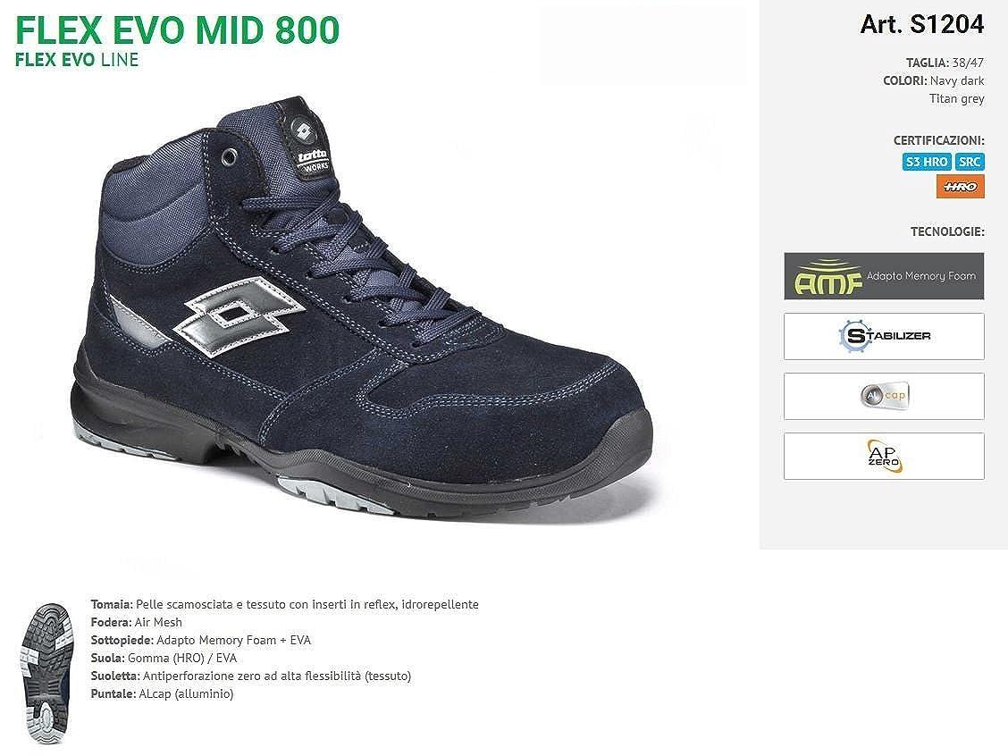 Lotto Zapato de Seguridad Lote Mod. Flex Evo 800 Mid Memory Foam S3 HRO SRC - Art. s1204 - Navy Dark/Titan Grey: Amazon.es: Zapatos y complementos