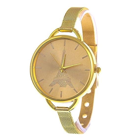 Moda Mujer Vestido Dorado relojes pulsera torre reloj cuarzo vestido de relojes de pulsera