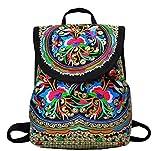 LeaLac Vintage Women Canvas Backpack Handmade Embroidered Bag Girls Ethnic Backpack Flower Rucksack Travel School Bag 01