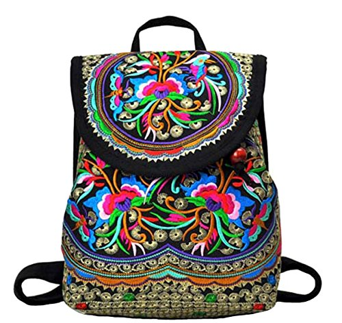 LeaLac Vintage Women Canvas Backpack Handmade Embroidered Bag Girls Ethnic Backpack Flower Rucksack Travel School Bag 01