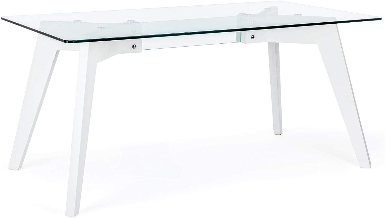 ARREDinITALY - Mesa de 160 x 90 cm, Acabado Blanco y Cristal: Amazon.es: Hogar