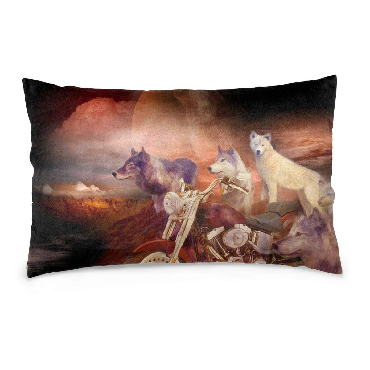 Private Bath Customiz Legend of Wolf Mountain Funny Motorcycle Home Decor Throw Pillowcase for Sofa Cushion Cover Decorative Pillow Case Covers 16 x 24 inch