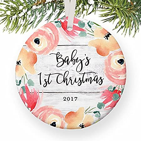 Vintage Christmas Decorations Baby S First Newborn 1st Baby Girl Little Girls Xmas Decoration For New Parents Flower Bloom Baby Shower Ornaments For Xmas Tree Hanging Amazon Co Uk Kitchen Home