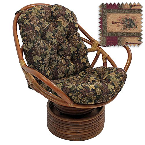 DCG Stores Bali Rattan Papasan Swivel Rocker with Cushion - Tapestry Fabric, Palm Springs Exclusive