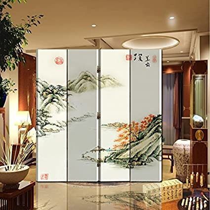 Fine Back To 20S Oriental Style Foldable Panel Shoji Screen Room Divider Chinese Painting Mountain And River 4 P Mountain And River Home Interior And Landscaping Analalmasignezvosmurscom