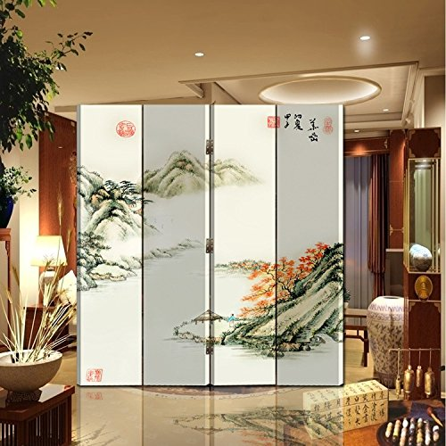 Back to 20s Oriental Style Foldable Panel Shoji Screen Room Divider, Chinese Painting: Mountain and River (4-P Mountain and River)