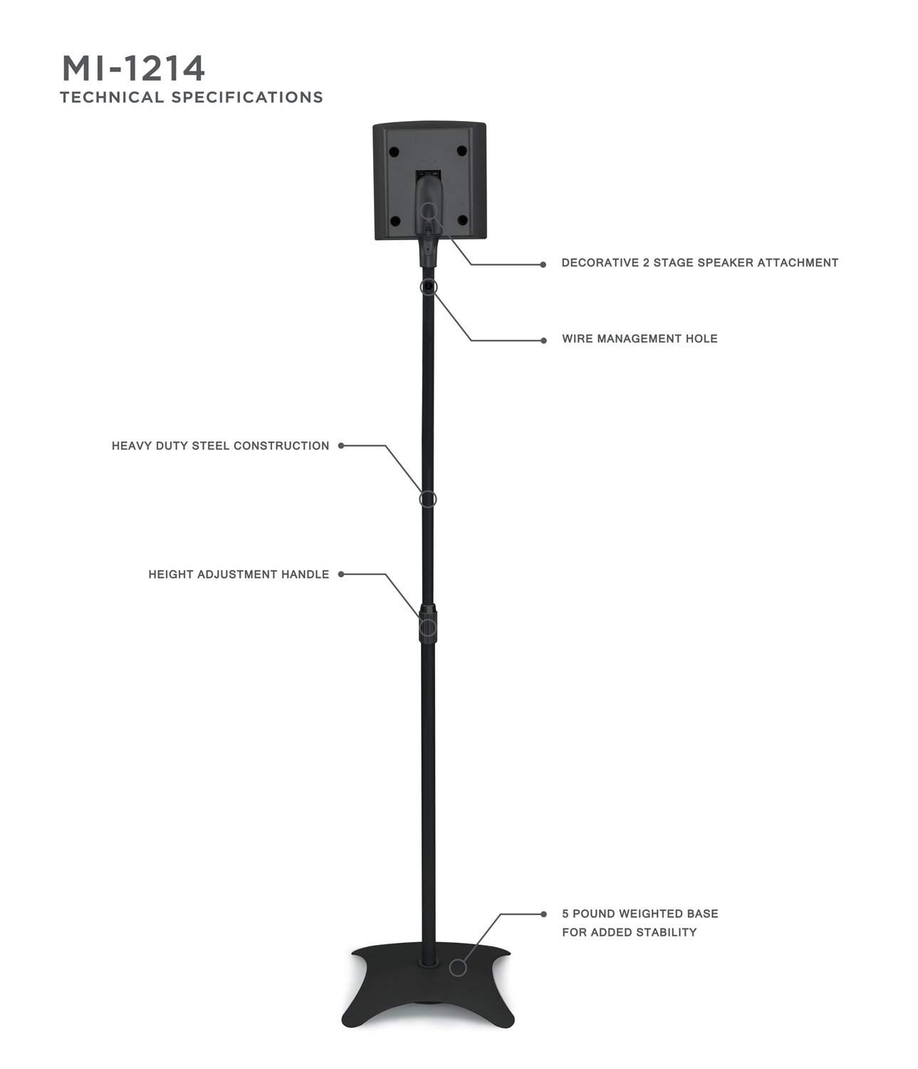 Mount It Mi 1214 Speaker Stands For Home Theater 51 5 Wiring Diagram Also 7 1 Surround Sound Channel System Satellite Mounts Rear And Front 2 Pairs