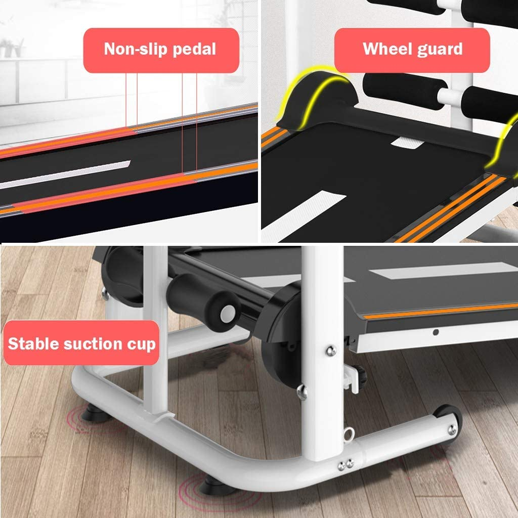 Folding Shock Running TANGNADE 4-in-1 Mechanical Treadmill Draw Rope for Home Gym Workout Fitness Running Machine Supine T-wisting