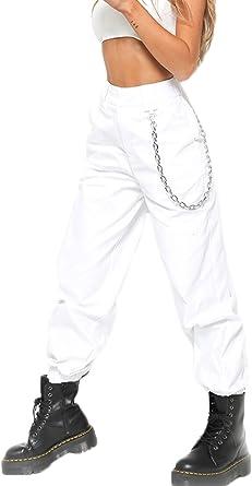 Mujer Jogger Pantalones Casual Hip Hop Con Cadena Danza Streetwear Boyfriend Pantalon Amazon Es Ropa Y Accesorios