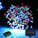 [USB and Solar Powered 90ft 220Led] Led String Lights Outdoor Indoor String Lights, Solar Christmas Lights Fairy String Lights for Outdoor Gardens Homes Wedding Christmas Party, Waterproof (1, multi-color)