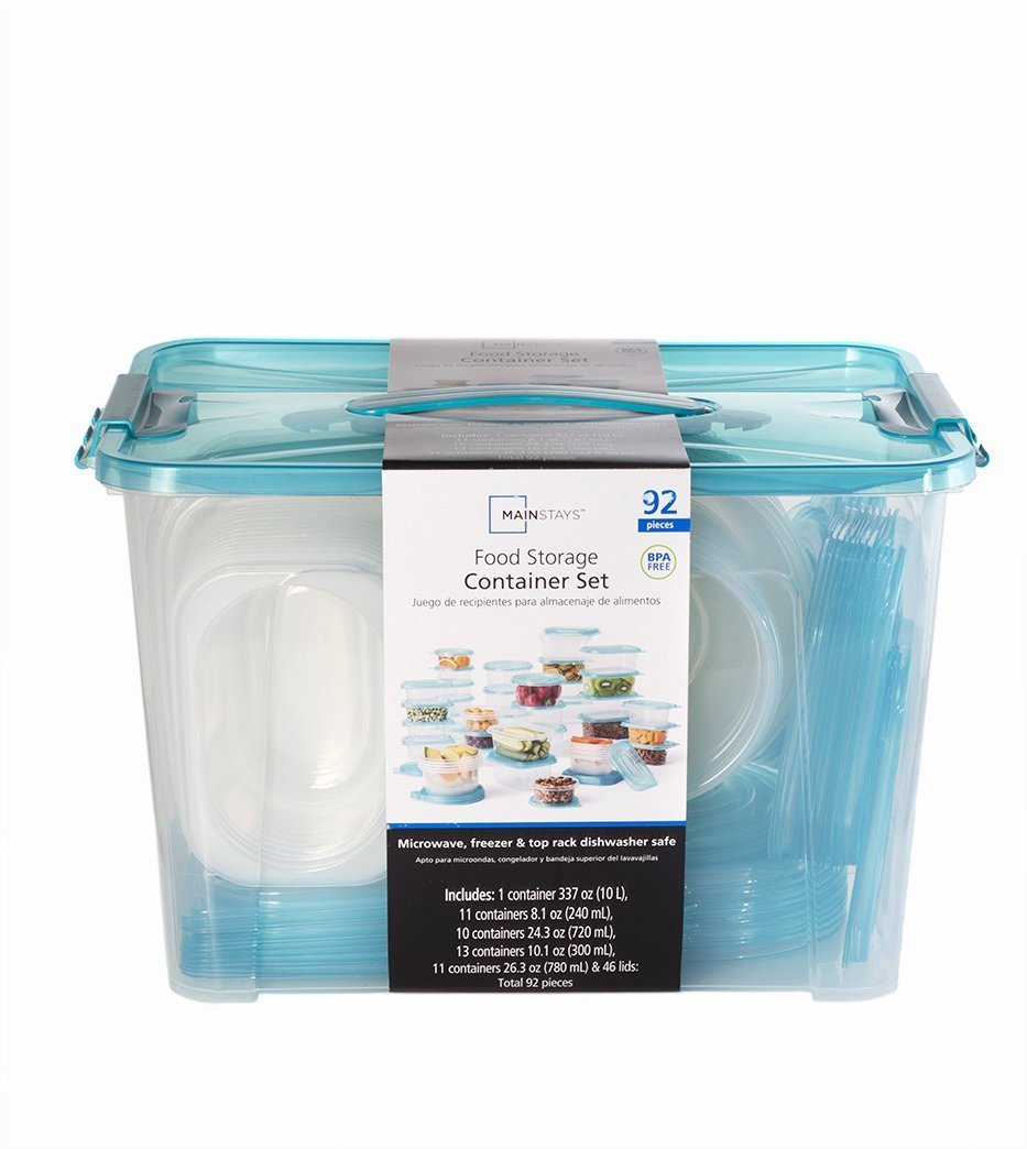 Amazon.com: Mainstays Teal Food Storage Container Set 92 pieces: Kitchen & Dining