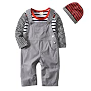Isugar 3Pcs Baby Boys Long Sleeve Stripe Romper Overalls Clothing Set with Hat (18-24 Months)
