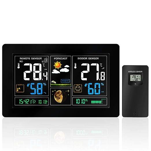 Estación meteorológica inalámbrica con pantalla a color, alarmas, pronóstico del tiempo, alertas de temperatura, monitor de humedad, reloj de alarma ...
