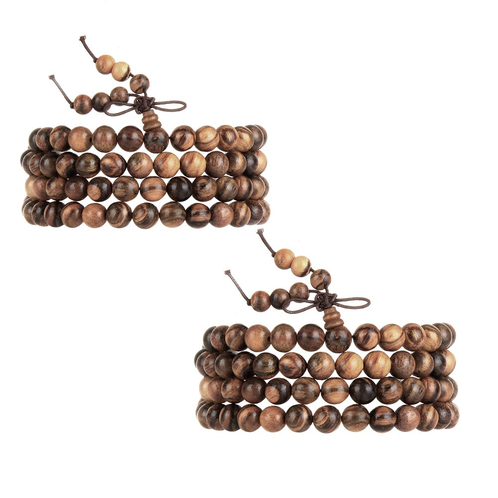 EVBEA 2PCS 6mm 8mm Buddha Bracelet Necklace Prayer Beads Rosary Wood Bracelets for Men (8mm bead)