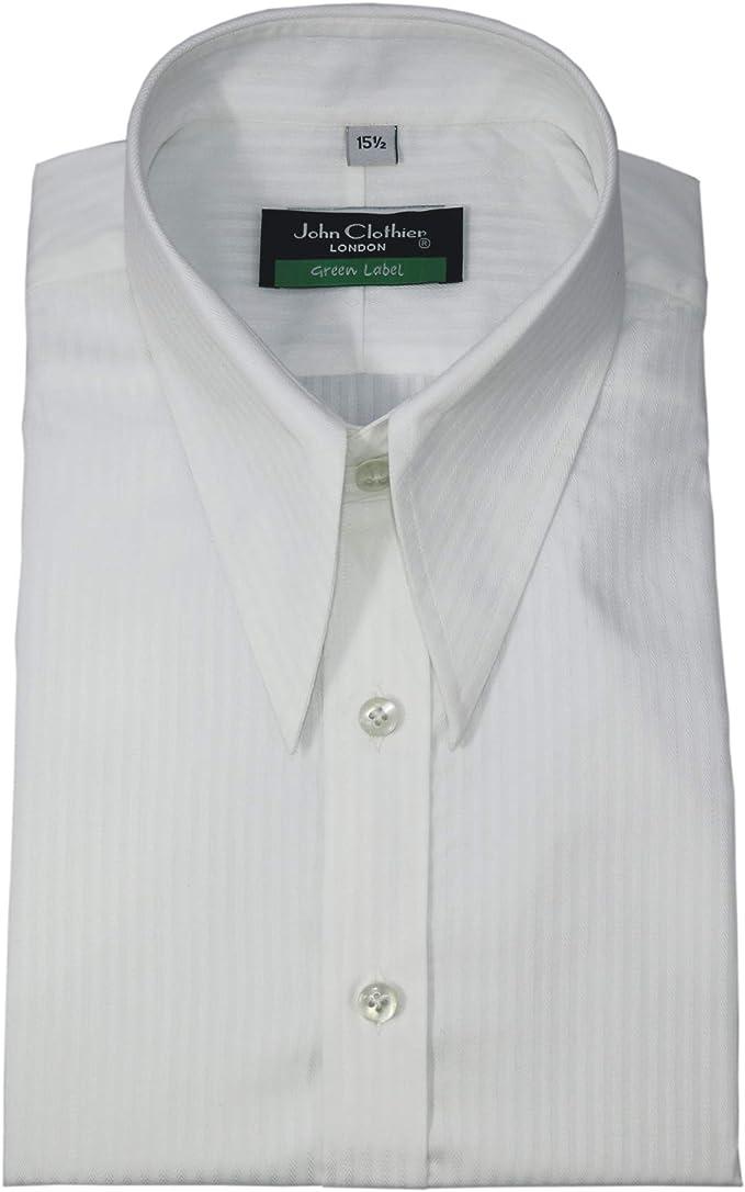 1930s Men's Fashion Guide- What Did Men Wear? Mens 1930s 1940s1950s Spear Point Collar White Shirt Vintage Classic 100% Cotton 200-38 $85.00 AT vintagedancer.com