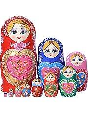 YAKELUS 10st Russische Nesting Poppen Matroesjka handmade1051