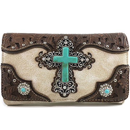 Justin West Cowgirl Western Cross Angel Wings Concealed Carry Handbag Purse Trifold Crossbody Messenger Bag Wallet (Beige Brown Wallet)]()